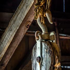Block & Pulley Study 07 by Robert Willson - Artistic Objects Antiques ( block & pulley, pulley, block, frayed rope, usa, robert willson, willson, rusty pulley, barn, rope, hemp rope, florida, bob willson, antique, antiques,  )