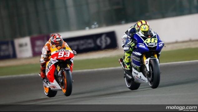 marquez - rossi motogp qatar 2013