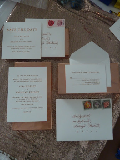 The invite suite with the calligraphed pieces added in.