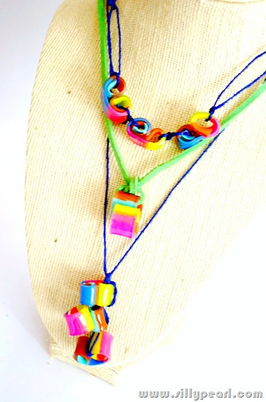 The Silly Pearl Shrink Plastic Curly Bead Necklaces