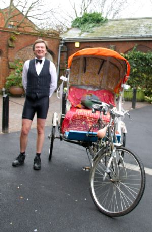 Mark Brummell bicycle as rickshaw driver in 2004