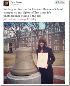 tyra banks graduation from harvard school of business pic