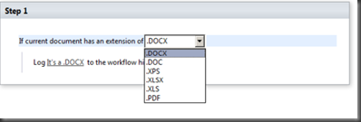 user interface of SharePoint Designer 2010 rendering the sample custom condition.
