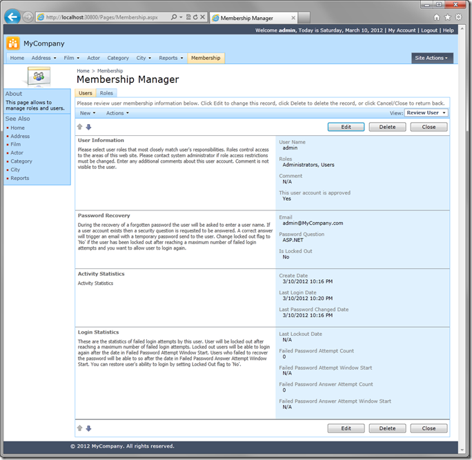 Code On Time Membership Manager in MySQL web application