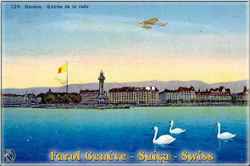 Alte Postkarte Genf mit Luchtturm und Flugzeug, Geneve Swiss