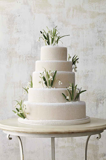 This remarkable cake was featured in Martha Stewart Weddings; the snowdrops are made out of sugar!