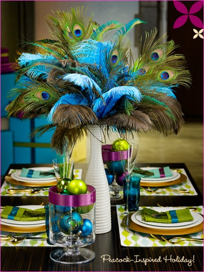 peacock inspired holiday table setting