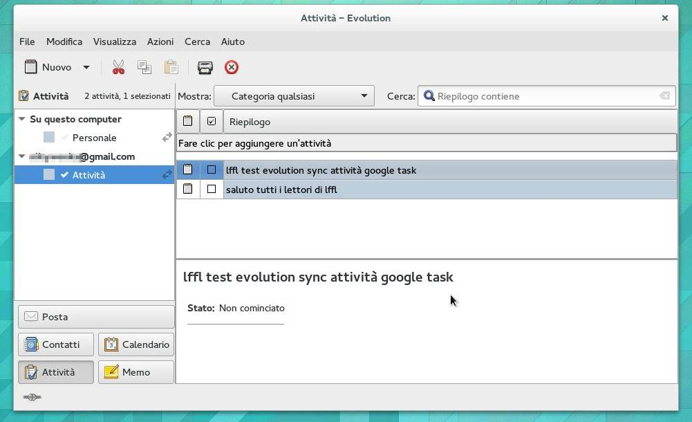Evolution 3.12.4 Appunti sincronizzati con Google Tasks