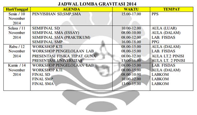 Jadwal GRAVITASI 2014