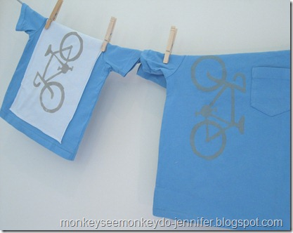 matching bike t-shirts with freezer paper stenciling for kids