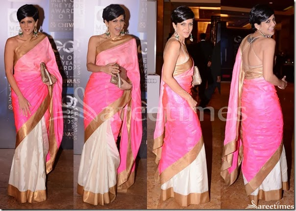 Mandira_Bedi_Pink_White_Half_and_Half_Saree