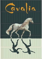 Cavalia banner draped on a stack of freight containers