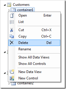 Context menu 'Delete' option for container1 on Customers page.