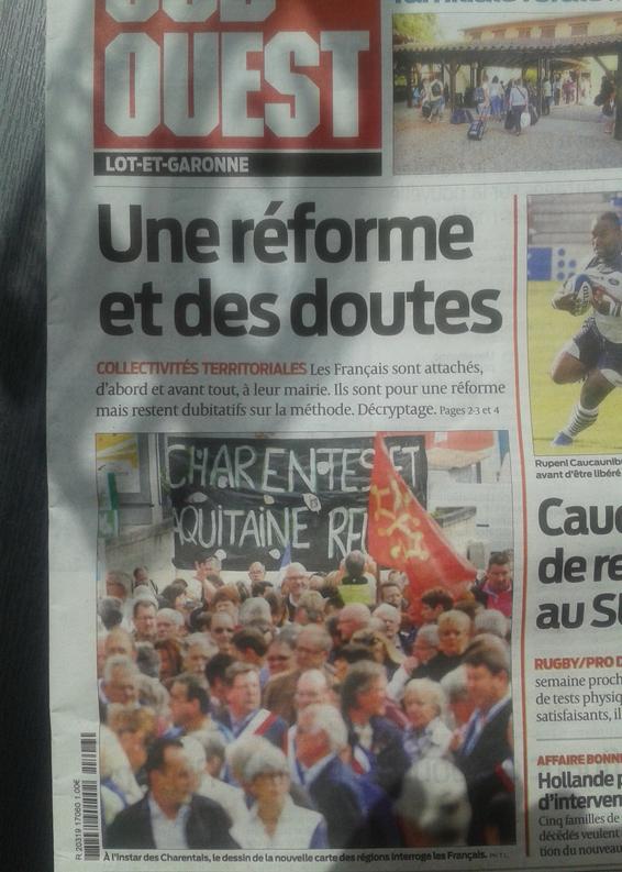 Portada del jornal Sud-Oèst 11072014 Charanta e Aquitània amassa