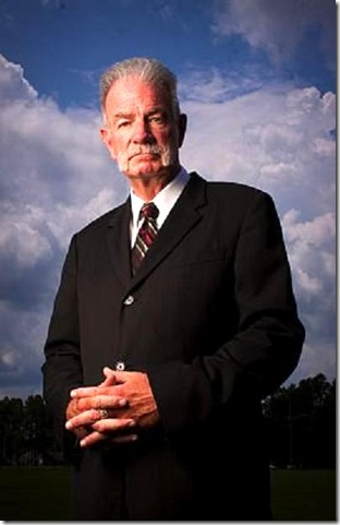 Aug. 01, 2010 - Gainesville, Florida, US - *EXCLUSIVE* Pastor TERRY JONES poses for a portrait at Dove World Outreach Center. ''We believe that Islam is of the devil, that it's causing billions of people to go to hell, it is a deceptive religion, it is a violent religion and that is proven many, many times,'' said senior pastor JONES. On September 11th, 2010, from 6pm - 9pm, we will burn the Quran on the property of Dove World Outreach Center in Gainesville, FL in remembrance of the fallen victims of 9/11 and to stand against the evil of Islam,'' says the church's Facebook page. (Credit Image:  Omar Vega/ZUMApress.com)