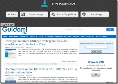 Nimbus Screen Capture salvare lo screenshot
