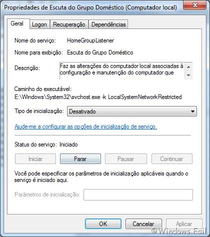 Na caixa de propriedades do serviço, selecione a opção Desativado no menu drop-down, depois clique no botão Parar. Clique em Aplicar e em Ok