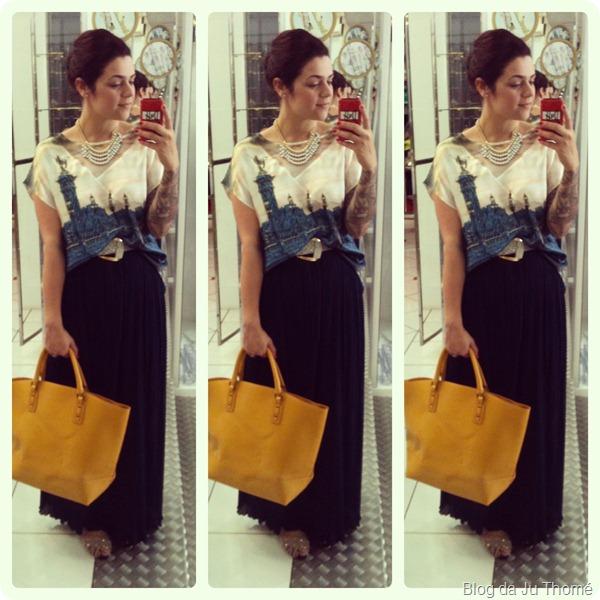 look saia longa plissada, camiseta de cetim e maxi bolsa amarela
