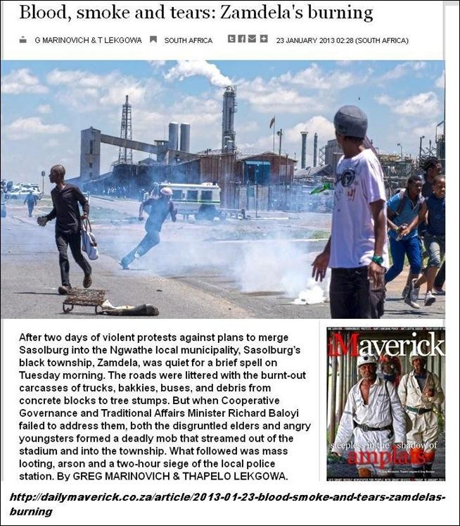 SASOLBURG ZAMDELA BURNING GREG MARINOVICH PICS FRONTPAGE