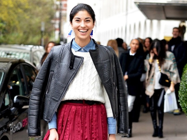 LEATHER-JACKET-SWEATER-BUTTON-UP-COLLAR-SHIRT-STREET-STYLE-FASHION-WEEK-CAROLINE-ISSA-TANK-MAGAZINE-EDITOR-JOSEPH-DENIM