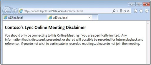 Lync 2013 - Cust Invite - Custom Disclaimer