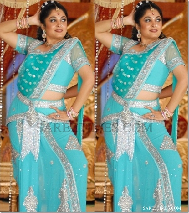 Ramya_Krishna_Blue_Embroidery_Saree