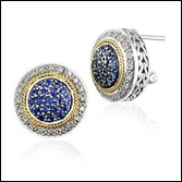 Round Sapphire and Diamond Cluster Earrings in 18k Yellow Gold and Sterling Silver