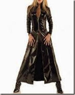 woman in black duster