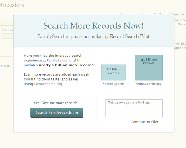 Warning the Record Search will soon go away