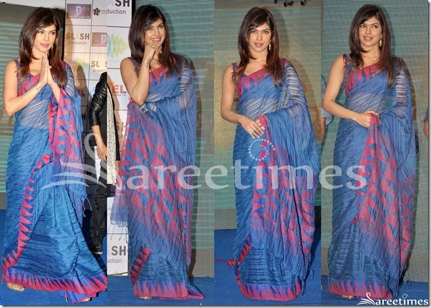 Priyanka_Chopra_Blue_Drape_Saree