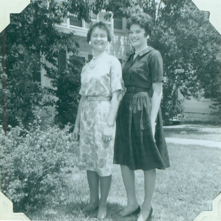 "Brenda and Carolyn Weathers. Album caption reads: ""I moved back to my beloved San Antonio. Moved in with Brenda and Anita on Claremont. Mother came to visit us.""  From Carolyn Weathers: ""This was the first Easter since Daddy's death in August 1961.  Brenda and I took Mother to a church for Easter Sunday Service. What Mother did't know was that Brenda and I had to find the church in the Yellow Pages."" August 1962."