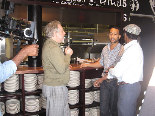 Chefs Jonathan Waxman and Marcus Samuelsson having a pre-show discussion with John Legend.