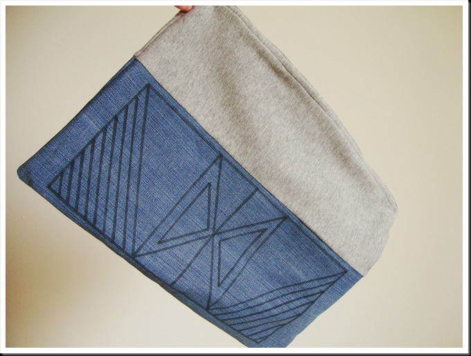 DIY fabric and jeans clutch