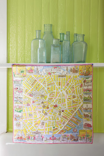A handkerchief map of Downtown Boston. (Martha Stewart Living, July 2010)