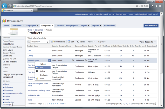 'Products'  list with all data manipulation capabilities enabled requires zero configuration