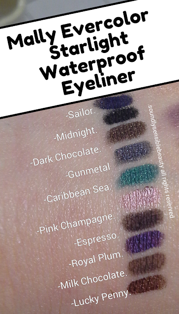 Mally Evercolor Waterproof Smudge-Free Eye Pencil Review & Swatches of Shades