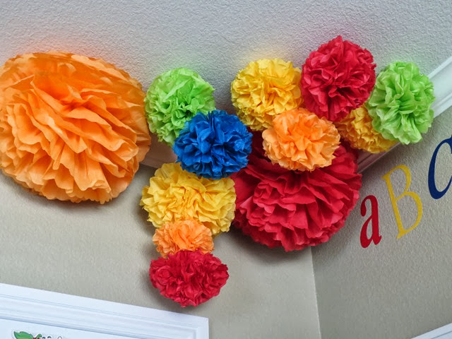 Classroom Decorating Ideas Tissue Pom Poms www.stylewithcents.blogspot.com