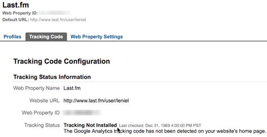 Last.fm Tracking Code status