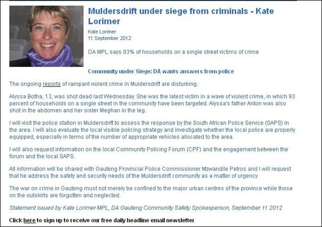 MULDERSDRIFT AREA UNDER SIEGE WARNS POLITICIAN SEPT 11 2012