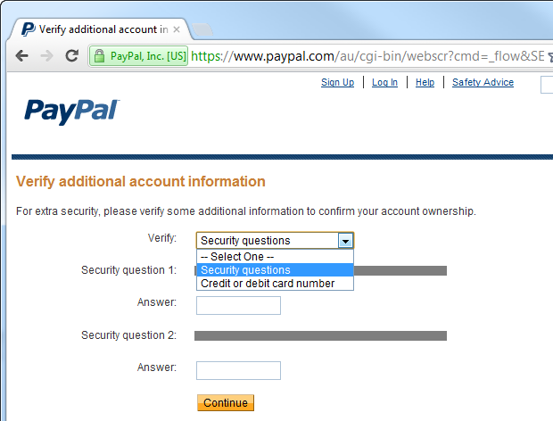Choosing to validate identity by a secret question on PayPal