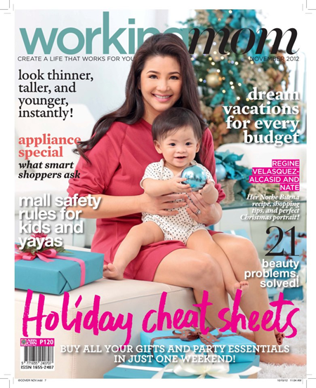 Regine Velasquez and Nate cover Working Mom Nov 2012