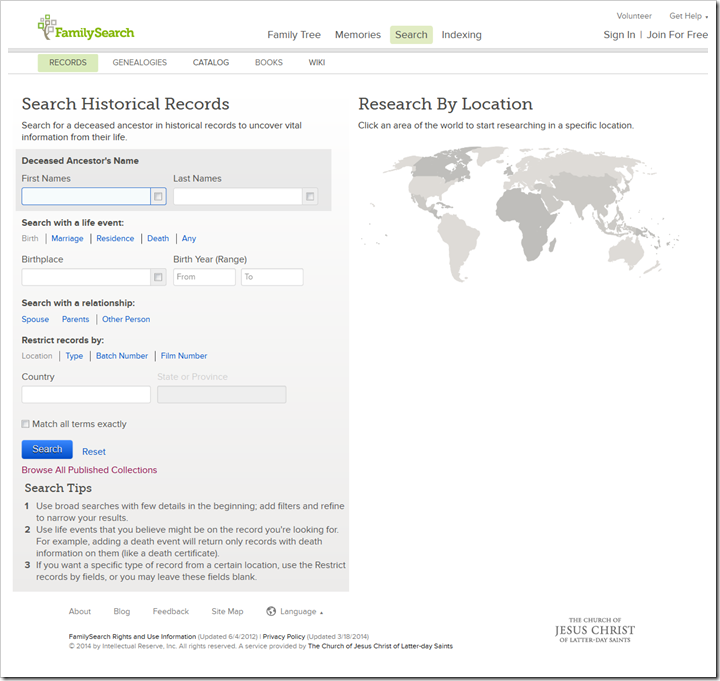 The FamilySearch historical records search page today