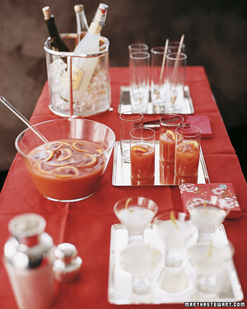 A red tablecloth makes a bold statement, whether on a cocktail buffet or your dining table.