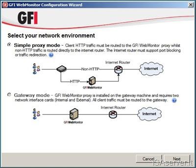 Selezione fra Simple Proxy o Gateway mode