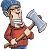 Cartoon lumberjack holding an axe