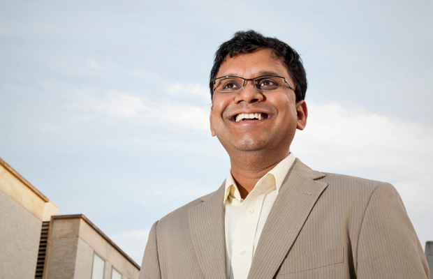 Auroop Ganguly, associate professor of civil and environmental engineering at Northeastern, is an expert in climate change and severe weather conditions. Photo by Mary Knox Merrill