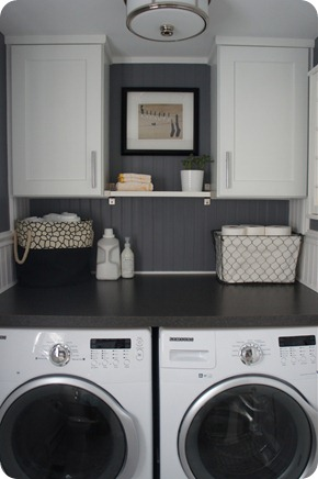 dark gray walls white cabinets