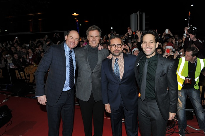 Dublin – 9th December 2013: (l to r:) David Koechner, Will Ferrell, Steve Carrell and Paul Rudd attend the Dublin Premiere of Anchorman 2 – Credit: Clodagh Kilcoyne for Paramount Pictures International via Getty Images