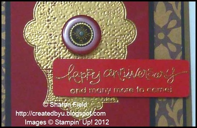 gold embossing on poppy parade card stock for red door card number one