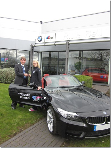 Fran Halsall receives her new BMW Z4 from Dealer Principal at Blue Bell Crewe, Barry Holt